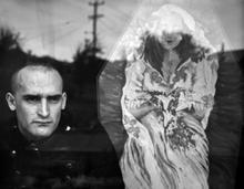 Sarah Rhodes, Man with a Coffin, 2020, Digital print on cotton rag, 59cm x 46cm, 1 of 7, $990