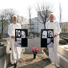 Derek Sargent and Jess Miley, Toyen, Giclée print, 2019, 50 x 50 cm - NFS  Toyen ( 1902 - 1980) Batignolles Cemetery - Paris  Escaping the limitations of Czechoslovakia because of your love of anarchy you found a new persona in the Paris Surrealist art scene. Being a citizen was more important than conforming to societies expectations on your sex. Ambiguous about gender but blatant about eroticism you made your own way among the surrealist patriarchy.