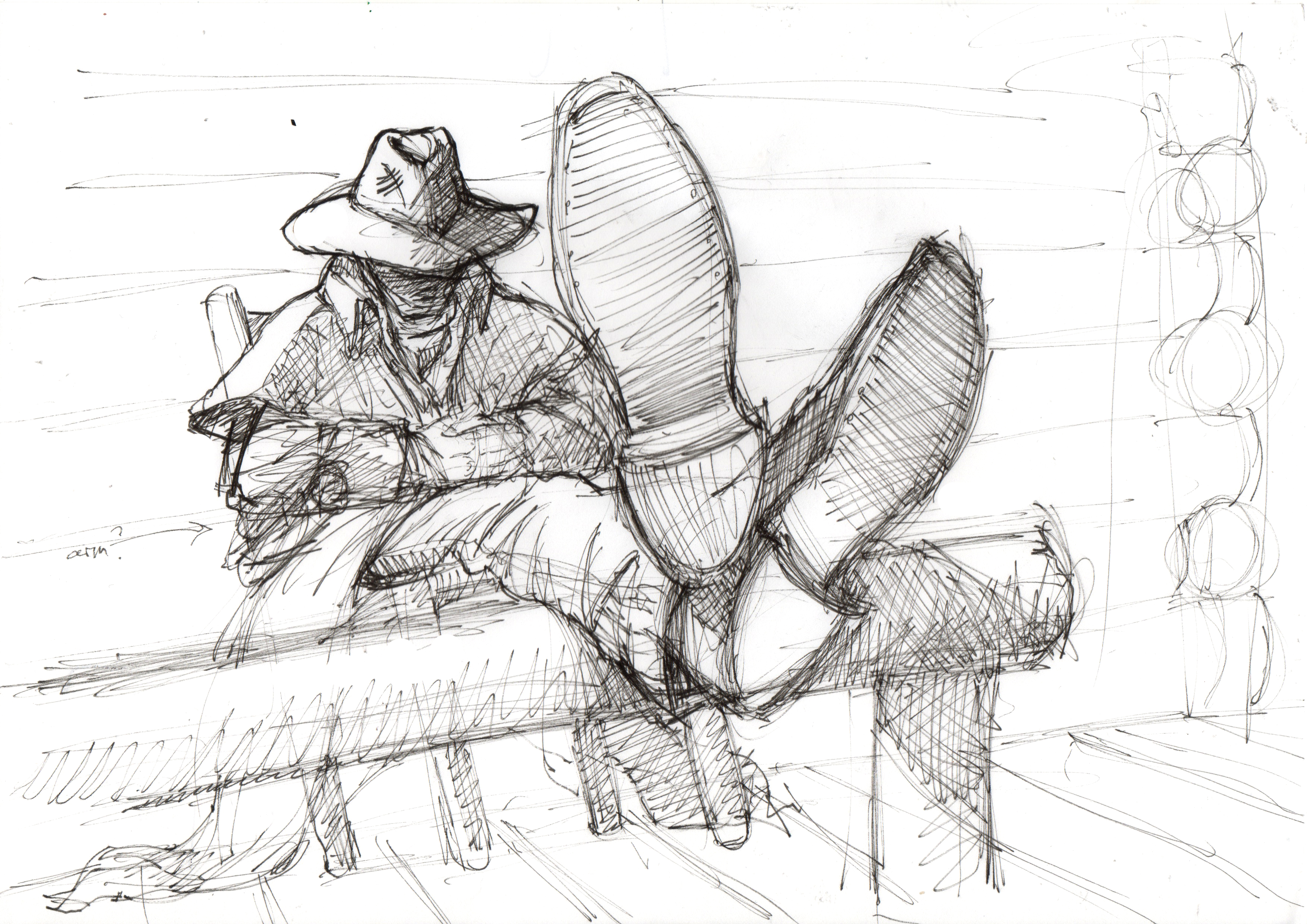 Rider: Feet up sketch