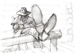 Rider: Feet up sketch