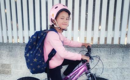 Biking to school pride