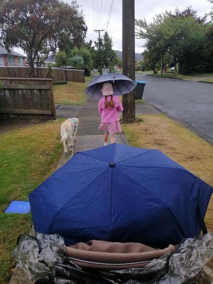 Walking rain or shine