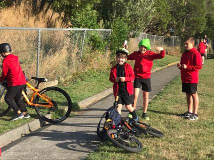 Biking to school is FUN and FAST!