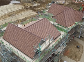 Drone view of construction site