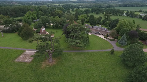 Aerial drone view of a property