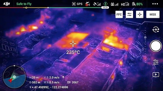 Aerial thermal view of burning roof