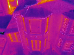 Drone roof survey on terraced house
