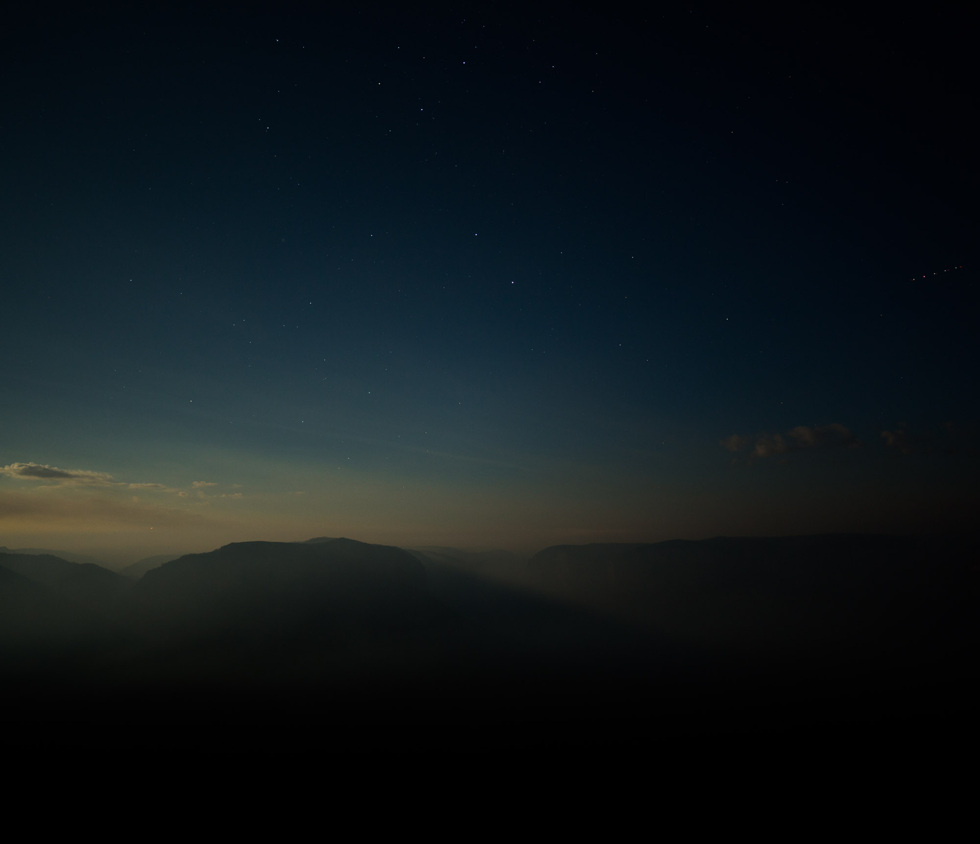 moonlight on the blue mountains