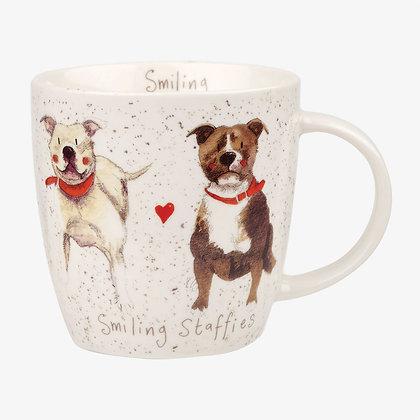 Squash Mug Smiling Staffies 390ml