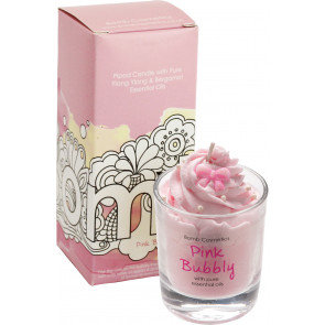 Pink Bubbly Piped Glass Candle