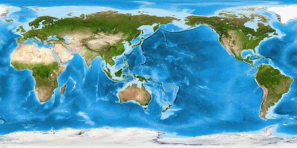 Карта мира физическая напольная