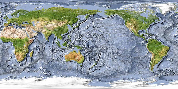 Карта мира с рельефом дна Мирового океана