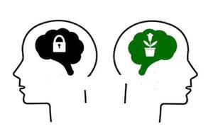 A imagem apresenta a relação entre um Mindset tóxico, bloqueado por princípios ultrapassados contra um Mindset Limpo aberto a novos atitudes e inclusão