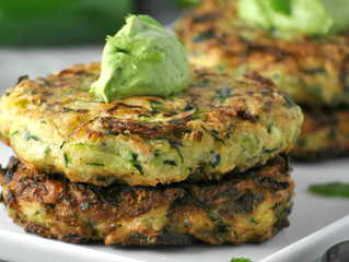 Zucchini, pea and mint fritters