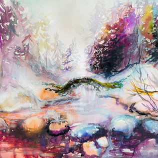 Winter River-watercolor-18/24 in