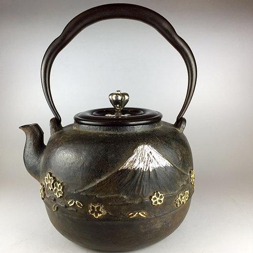 三徳堂オリジナル鉄瓶 本体にプラチナ象嵌入