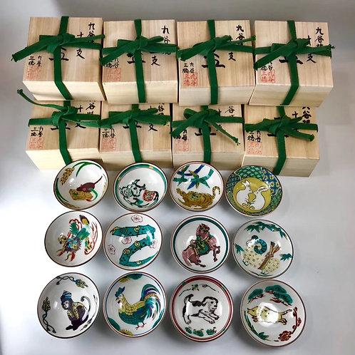 日本九谷燒 十二生肖組杯 ~十二支茶杯セット~ 個別木箱包装
