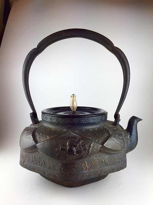 大国写 銅蓋 六角鉄瓶 摘み・座:銀 桔梗摘み 鉄壺 約1.6L