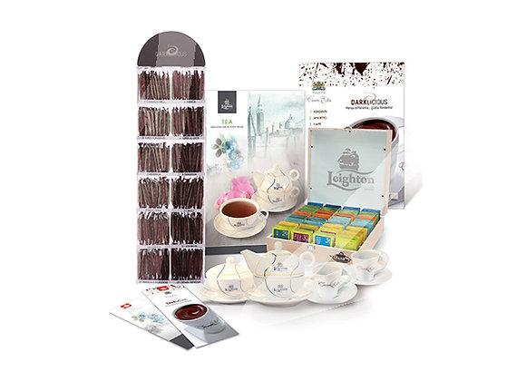 Kit 160 filtri di thè e 120 bustine di cioccolata fondente gusti assortiti