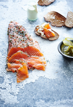 Salmon Gravlax with Dijon Creme Fraiche Dressing and Pickled Cucumbers