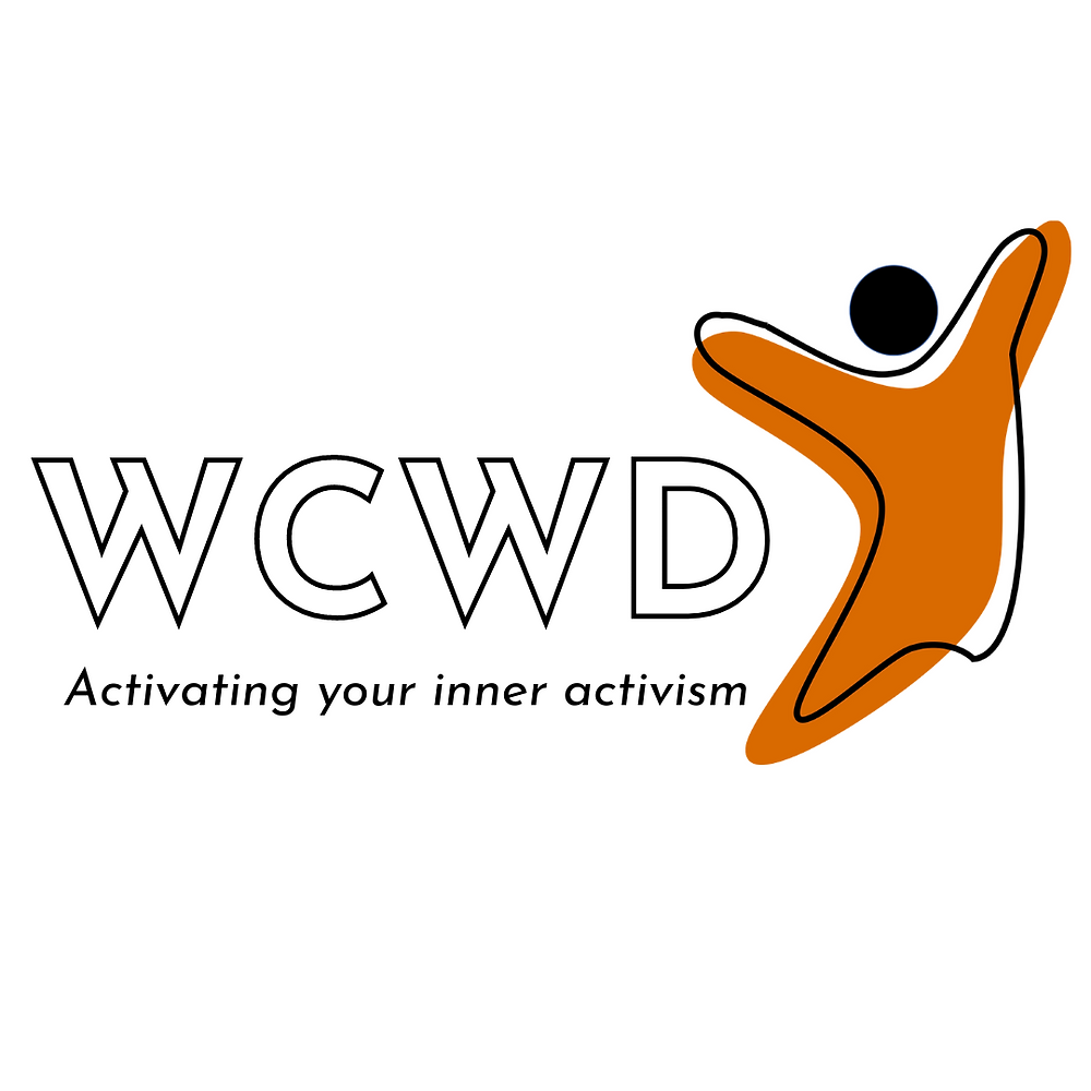 The What Can We Do logo, with a jumping orange figure