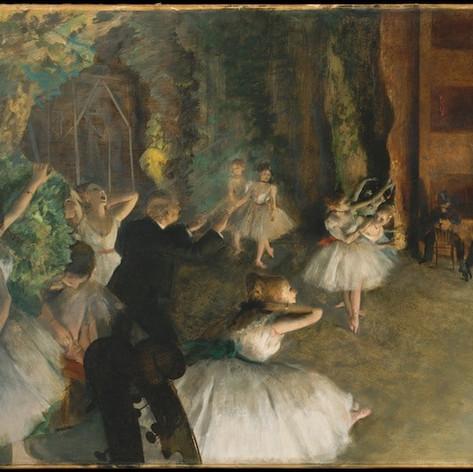 El ensayo en el escenario de Edgar Degas