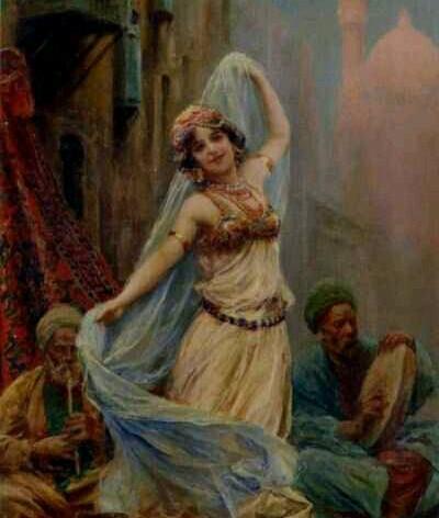 Fabio Fabbi (Pintor italiano, 1861 - 1946)  El Velo azul