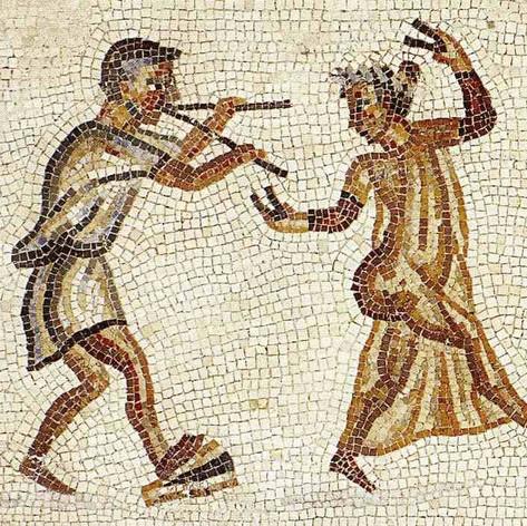 Mosaico romano con músico y Bailarina Museo Pio-Clementino - Vaticano