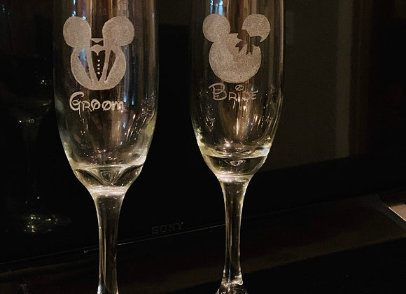 Bride & Groom Champagne Flutes - Pair