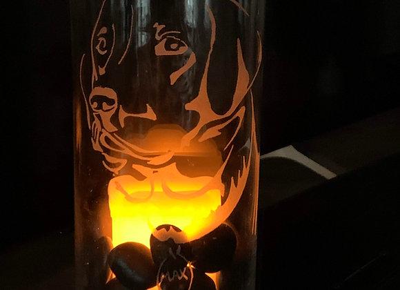 Custom Glass Pillar w LED Candle🕯