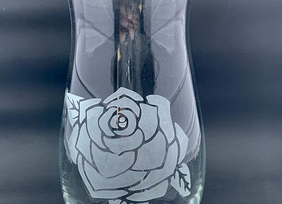 Etched Rose Vase