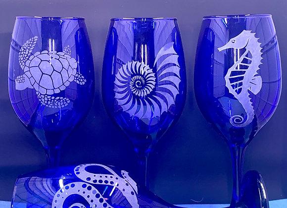 Cobalt Ocean Creatures Wine Glass Summer