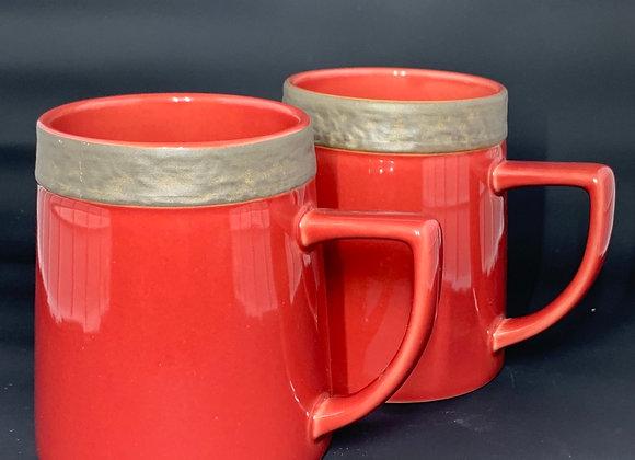 Custom Mugs, Cranberry, Set of Two