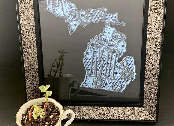 Michigan Layered Paper Cut, Framed & Etched