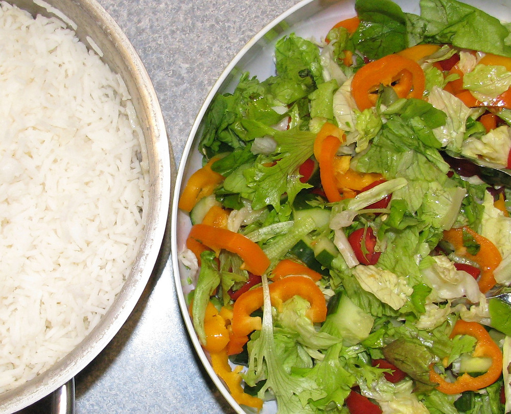 Salad and rice