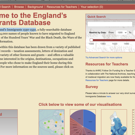England's Immigrants Database (1330-1550)