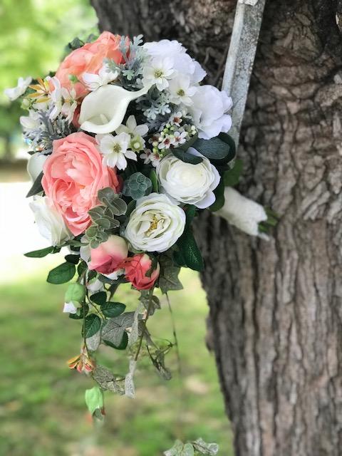 Peach, Coral and white silk wedding
