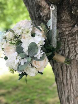 white and cream silk bridal bouquet