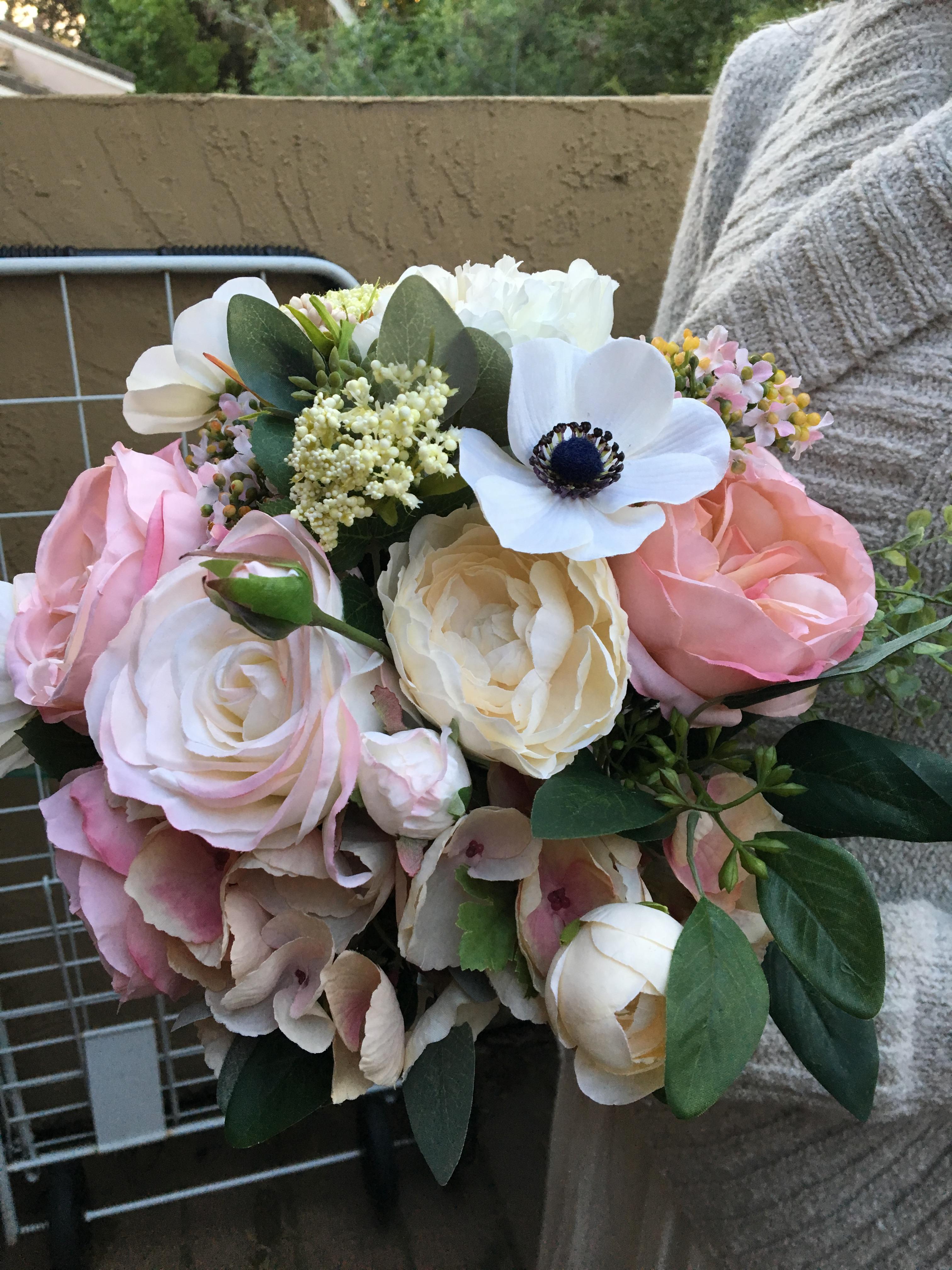 Blush pink silk bridal bouquet