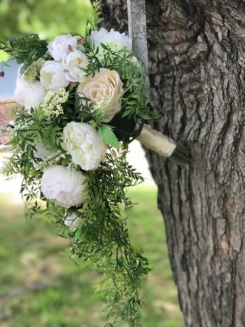 white and green silk cascade bridal