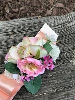 Silk wrist corsage in blush