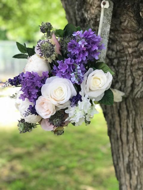 Silk wedding bouquet Purple