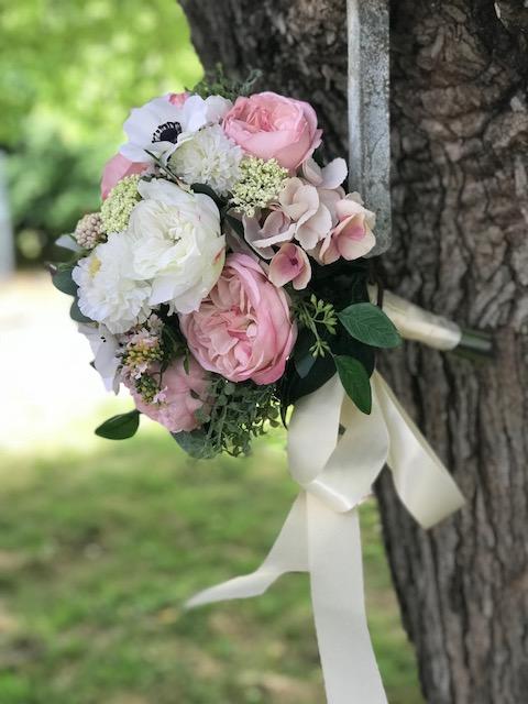 Blush and white silk wedding bridal