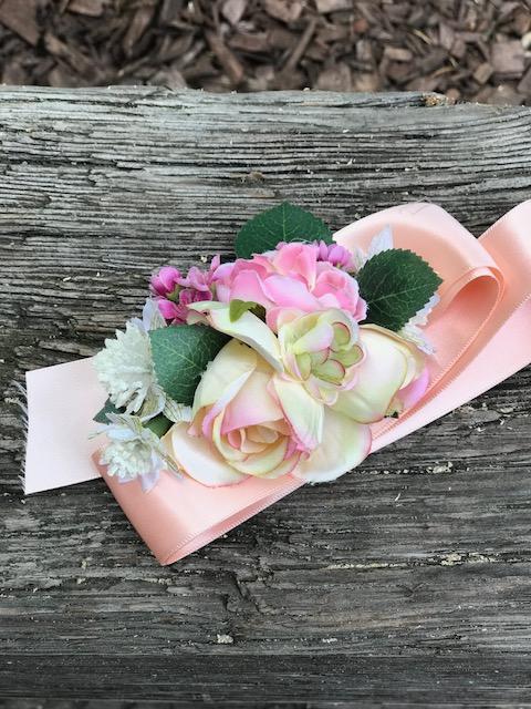 blush silk wrist corsage