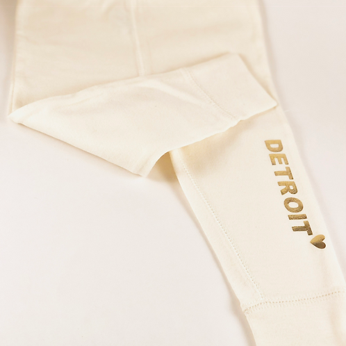 """Love Detroit"" Ivory Baby Pant"