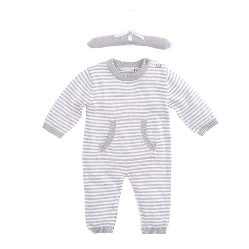 Gray Stripe Jumpsuit by Elegant Baby