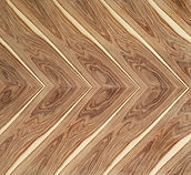 wood design feature wall art in Santos Palisander veneer herringbone design