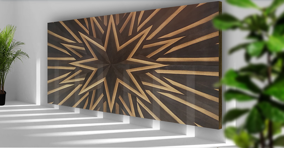 Vply Smoked Moon Ring Oak premium veneer wood design feature wall