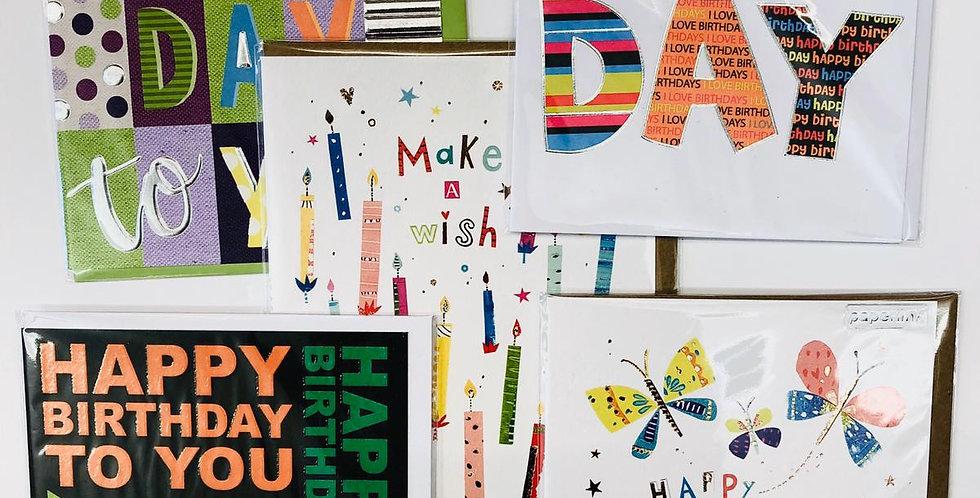 Birthday 5 x card bundle (cards my vary slightly)