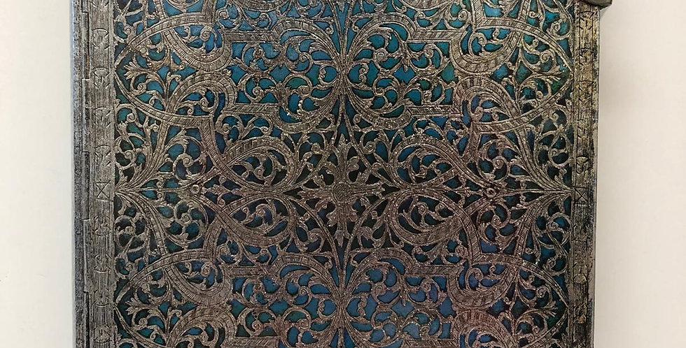 Paperblanks unlined A4 notebook with clasp  Silver Filigree
